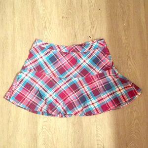 Plaid mini skirt.